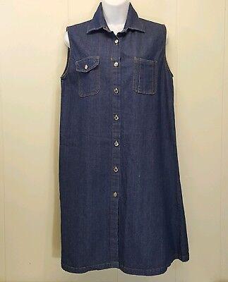 Cottonile Medium Jeans Kleid Blau Denim Ägypten Baumwolle Ärmellos Knopfleiste (Medium, Blau Kleid)