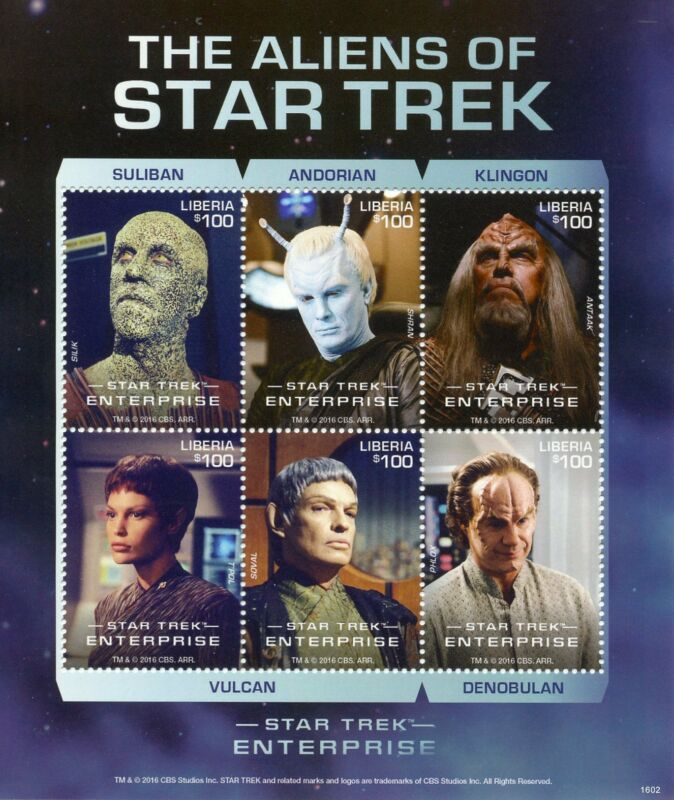Liberia+Star+Trek+Stamps+2016+MNH+Aliens+Enterprise+Doctor+Phlox+T%27Pol+6v+M%2FS