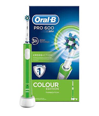 Braun Oral-B Pro 600 Elektrische Zahnbürste 3D-White CrossAction Weiß Grün