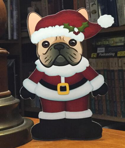 "Fawn French Bulldog Mr Santa Christmas 7"" Decor"