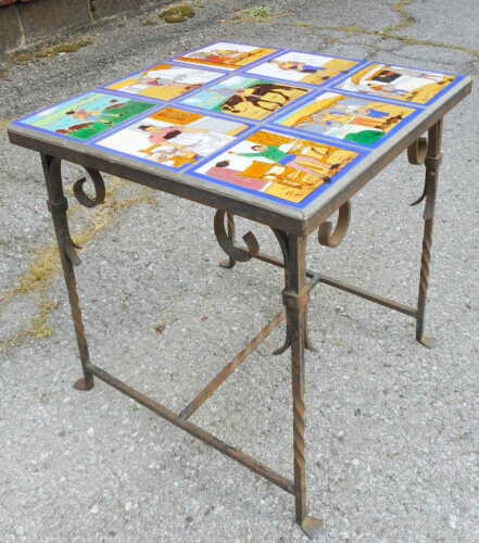 Antique 1915 Arts & Crafts Wrought Iron Painted Porcelain Tile Top Table