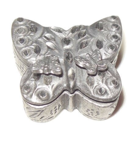 TORINO Pewter Butterfly Pin Brooch Lid Trinket Box w/Pierced Post Earrings