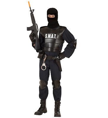 SWAT Officer Agent Polizist Kostüm Karneval Overall Weste Maske Set Größe L (Swat Kostüm Große)