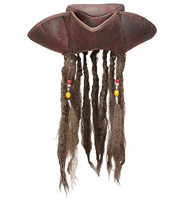 Piratenhut mit Haaren - Dreispitz braun Pirat Seeräuber Hut mit Lederoptik