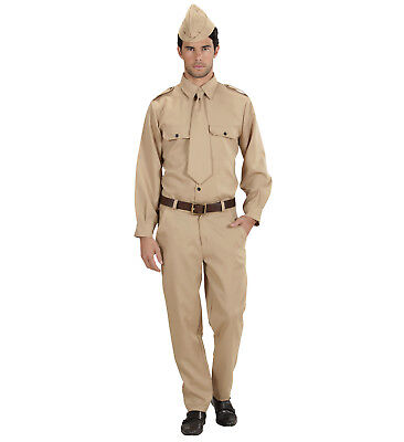 WW2 US SOLDIER G.I. ARMY MAN MALE ADULT FANCY DRESS COSTUME 1940's AMERICAN - Male Army Costume