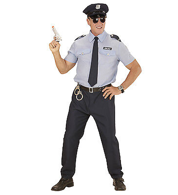 Male Cop Costume (POLICEMAN COSTUME POLICE COP FANCY DRESS SHIRT TROUSERS HAT TIE MAN MALE ADULT)