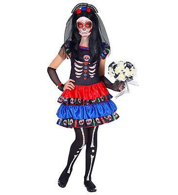WIM 05165 Zombie Braut Tag der Toten  Kinder Mädchen Fasching Halloween Kostüm   ()