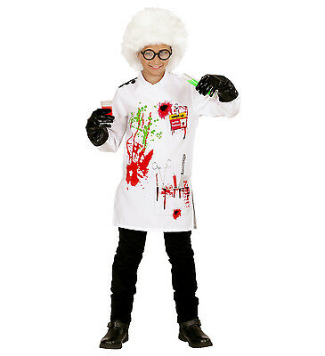 BOYS MAD SCIENTIST FANCY DRESS TUNIC GLOVES  EINSTEIN DOCTOR HALLOWEEN PROFESSOR (Einstein Halloween Kostüme)