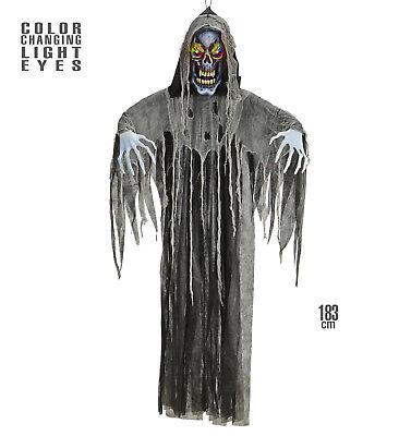 Figur, Sensenmann, lebensgroß 183 cm, Augen leuchten ,Deko, Halloween