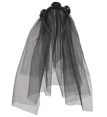 BLACK WIDOW VEIL TULLE HALLOWEEN BRIDE FANCY DRESS ACCESSORY