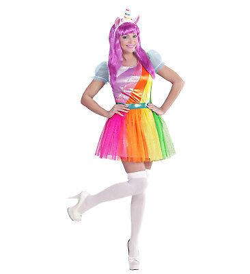 Bogen Kostüme (WIM 07569 Einhorn Regenbogen Rainbow Damen Kostüm + Haarreif Karneval Fasching )