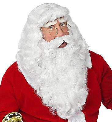 Weiße Kostüm Bart (DELUXE WEIHNACHTSMANN PERÜCKE BART & SCHNURRBART weiss Nikolaus Kostüm)