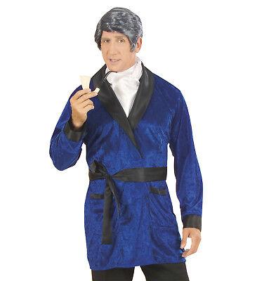 Playboy Kostüm Casanova Mantel Morgenmantel Herrenkostüm Samt Jacke blau Gr. M