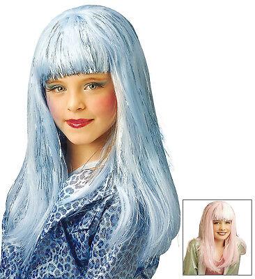 IAL D6281 Dana Glamour Perücke mit Lametta Karneval Mädchen Perücke Rose Blau (Blaue Lametta Perücke)