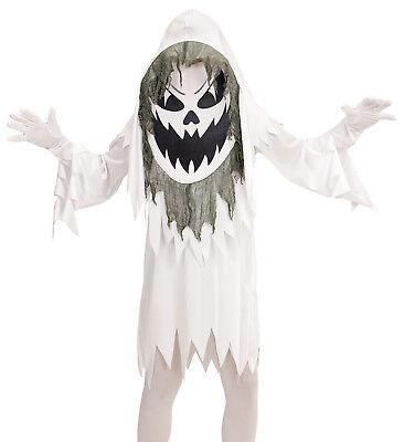 Böser weißer Geist Kostüm Kinder, Tunika, Riesenmaske mit Kapuze Gr. - Bösen Geistes Kind Kostüm