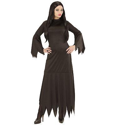 WIM 07191 Fasching Halloween Damen Kostüm Mortisia Adams Hexe Horror Gothic - Schwarz Adam Kostüm