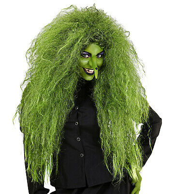 HEXEN TEUFEL Feen Halloween PERÜCKE Voluminöse GRÜNE Damen Langhaar Perücke (Lange Halloween Perücken)