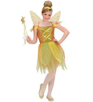goldene Waldfee Fee Kleid Flügel Haarreif Kostüm Karneval Größe 158 11-13 years