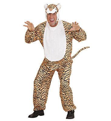Tiger Jumpsuit Fancy Dress Costume Jungle Animal Big Cat Outfit L Mens Adult