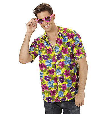 Herren Hawaiihemd Hawaii Aloha Party Hemd Kostüm gelb/bunt Blumen Gr. XL