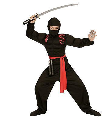 super Muskel Ninja Kostüm Verkleidung Karneval schwarz Größe 158 11-13 years