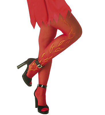 ANT Strumpfhose Teufel Diablo Glitzer Flammen Nylons Strümpfe Kostüm - Diablo Kostüm