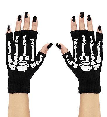 schwarze fingerlose Skelett Knochen Handschuhe Damen Halloween