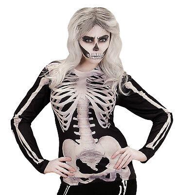 IAL 98697 Damen Kostüm Shirt Skelettfrau Skelett Bones T-Shirt  Grusel - Gruseligsten Kostüm Damen