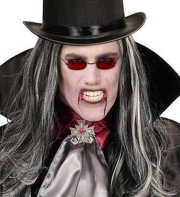 Vampir Dracula Brille, rote Gläser getönt schmal Halloween p. z (Rote Kostüme Brille)