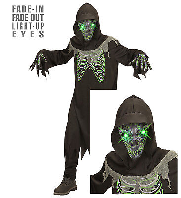 Sensenmann Tod Dämon 3 tlg. Kostüm Kinder leuchtende grüne Augen Halloween