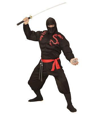 super Muskel Ninja Kostüm Verkleidung Karneval Muskelshirt Hose Maske Größe L