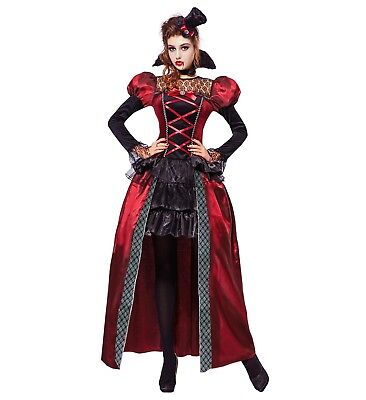 VICTORIAN VAMPIRESS FANCY DRESS COSTUME HALLOWEEN DRACULA WOMAN'S FEMALE
