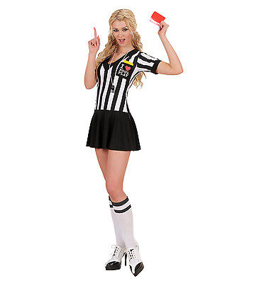 REFEREE FEMALE FANCY DRESS COSTUME  WHISTLE AND YELLOW/RED CARDS SOCCER FOOTBALL