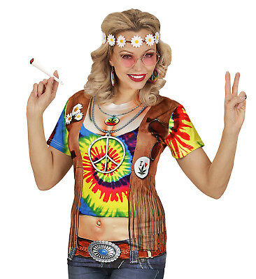 HIPPIE HIPPY WOMAN T SHIRT FANCY DRESS LOVE AND PEACE 3D DESIGN TOP WOMANS (Designer Fancy Dress Kostüme)