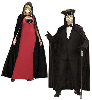Umhang mit Kapuze Mittelalter Karneval Kostüm Cape Mantel  (Schwarzer Umhang Mit Kapuze)