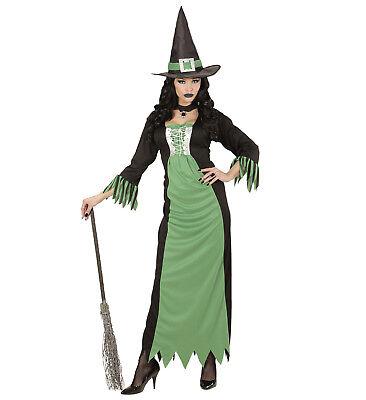Hexe Zauberin Kleid Hut Kostüm Verkleidung Karneval Halloween grün Größe L