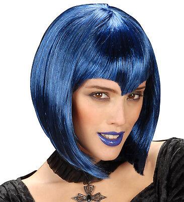 Halloween Perücke Gothic Vamp Vampir Hexe Zauberin hohe Qualität, blau