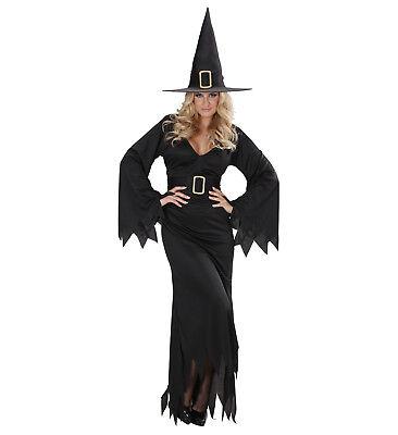 Schwarzes Kleid Für Halloween-kostüme (Hexe Zauberin Hexen Kostüm für Damen Kleid Hut Gürtel schwarz Halloween, Gr. S )