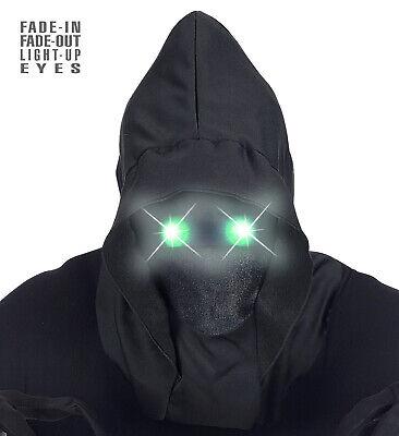 Maske schwarz unsichtbares Gesicht LED GRÜNE leuchtende Augen Halloween Sensen