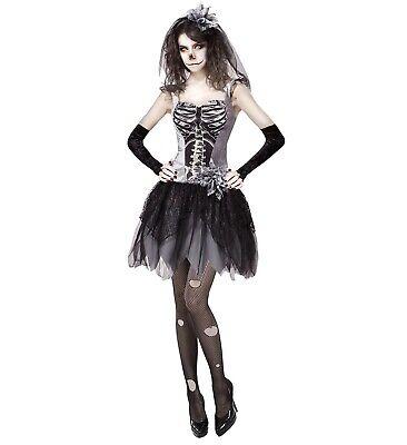 Skelebride Kleid fingerlose Handschuhe Brautschleier Gr. M Halloween Grusel ()
