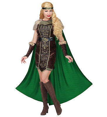 Womens Ladies Lady Viking Queen PrincessAdult Fancy Dress Costume (Womens Viking Queen Kostüm)