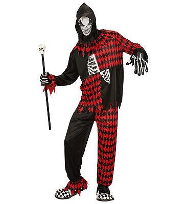 er Horror Böser Hofnarr Fasching Halloween Herren Kostüm  (Böse Clown Kostüme)