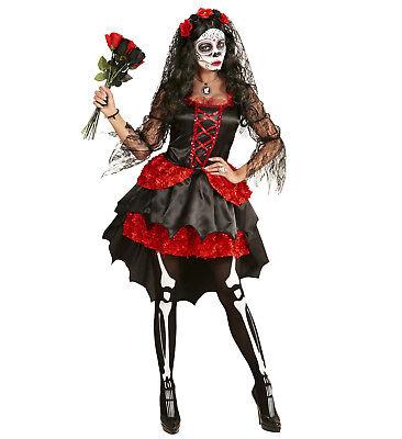 Braut dia de los muertos Tag der Toten Kleid Schleier Blumen Kostüm Größe S