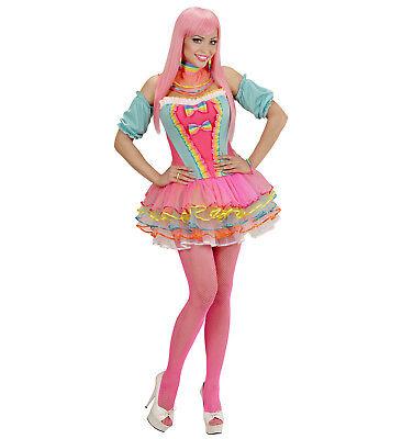 Bogen Kostüme (WIM 49481 Candy Fantasy Girl Regenbogen Clown Einhorn Damen Kostüm Karneval )