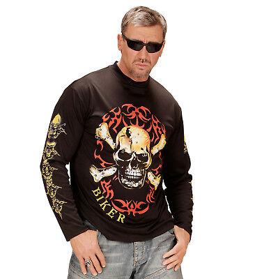 Toter Rocker Kostüm (ANT 49002 Totenkopf Biker Rocker Shirt T-Shirt Knochen Fasching Herren)