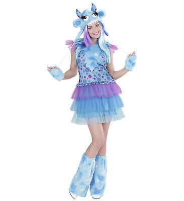Monster Girl blau Kleid Kopfteil Handschuhe Stulpen Kostüm Karneval süß Größe S (Monster Girl Kostüme)