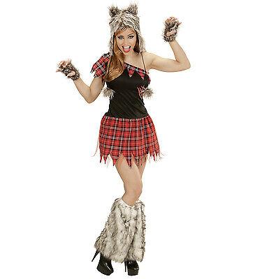 WIM 02481 Fasching Karneval Halloween Damen Kostüm Wolf Hund Lady Werewolf S M L
