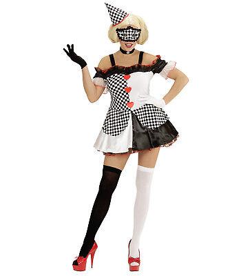 Kostüm Pierrot Harlekin schwarz weiß 2-teilig Damen Kleid und Hut Raute - Harlekin Und Pierrot Kostüm