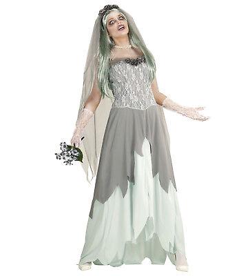 Zombie Braut Kleid Schleier Blumenstrauss Kostüm Halloween Untote Größe XL