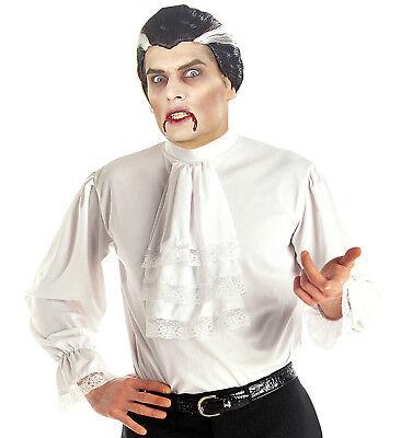 Dracula Vampir Rüschen Hemd mit Jabot weiß, Herren M/L-XL Kostüm
